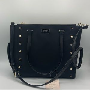 NWT Kate Spade Black Studded Medium Satchel